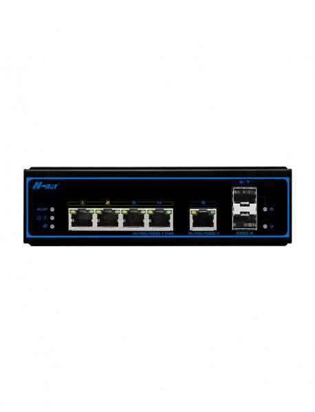 NIE8052PG 5*10/100/1000M+2*1000MSFP Промышленный неуправляемый PoE коммутатор N-Net