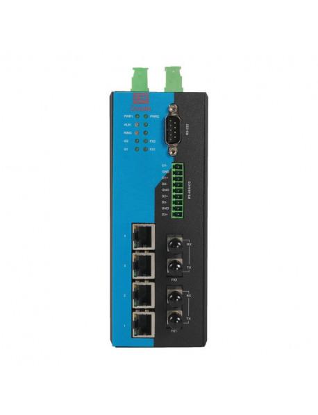 4TX+2FX+4Serial+2SFP управляемый Ethernet Коммутатор с поддержкой Modbus и SFP слотами