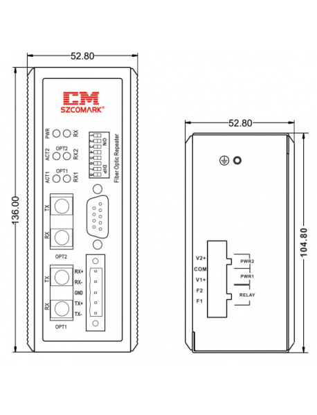 BACnet/DH485/CC-Link/Interbus/CS31 - FO конвертер (повторитель)