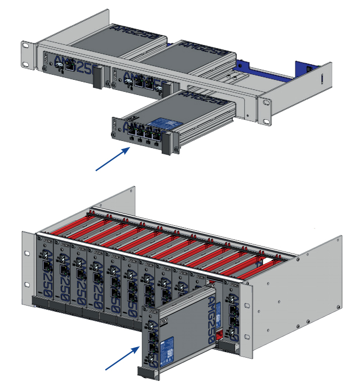 Установка Медиаконвертеров AMG Systems серии AMG250R в стойку 19U