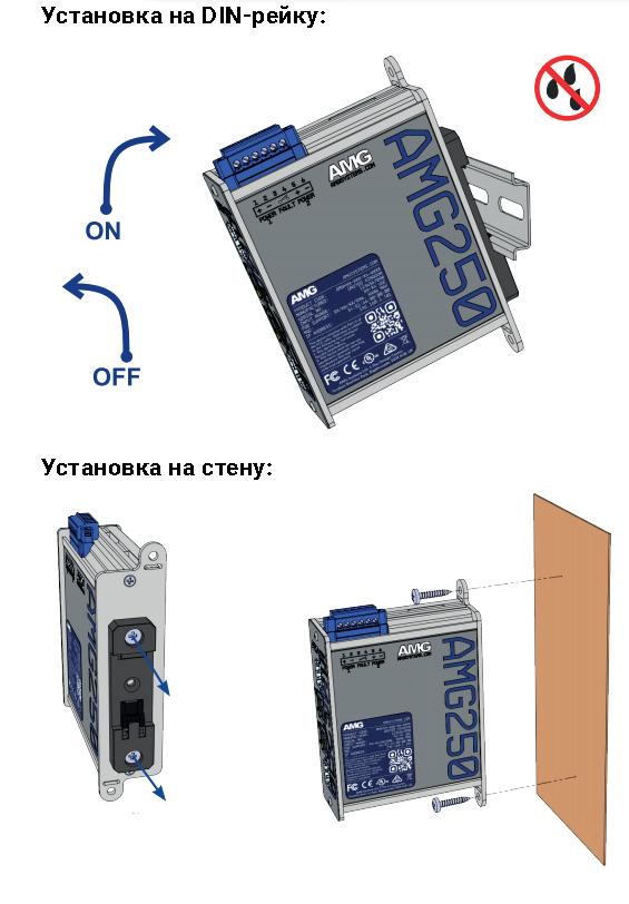 Установка Медиаконвертеров AMG Systems серии AMG250 на DIN-рейку 35мм или на стену