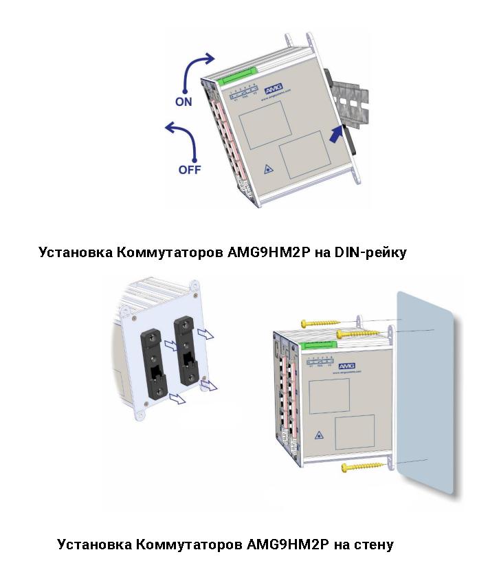Установка Коммутаторов AMG Systems серии AMG9HMU на DIN-рейку 35мм или на стену