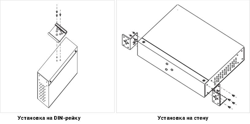 Установка Anybus_PoE_Injector_12-57VDC на DIN-рейку или на стену