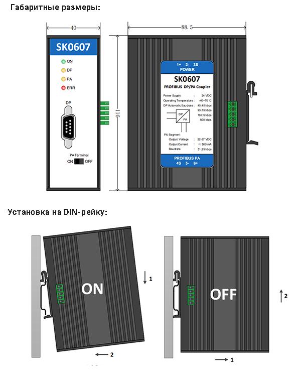 Пример установки SK0607 на DIN-рейку и габаритные размеры
