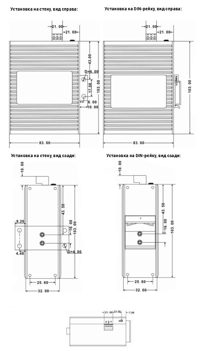 Монтирование Компактныых промышленных коммутаторов SZComark серии CK10XX на DIN-рейку 35мм или на стену