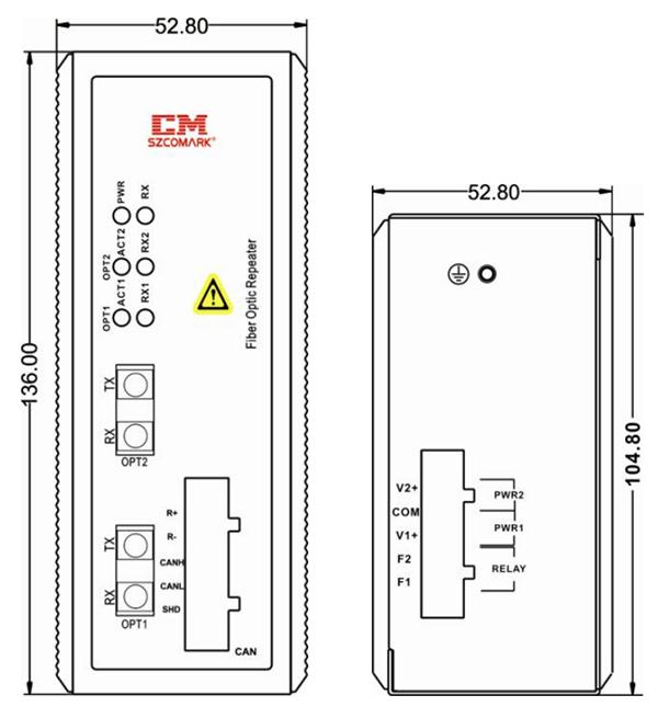 Габаритные размеры оптических повторителей серии Ci-DFXX