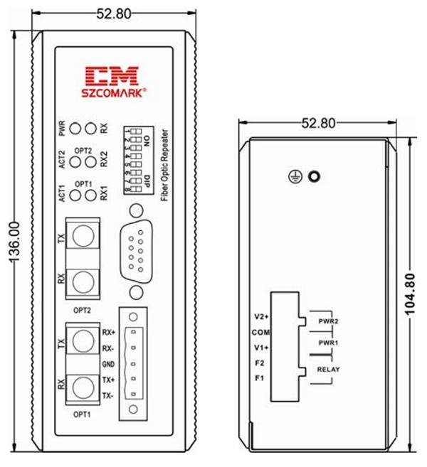 Габаритные размеры повторителей SZComark серии Ci-EFXX