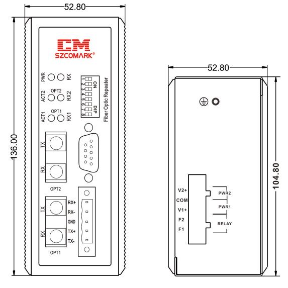 Габаритные размеры конвертеров серии Ci UF110/UF120