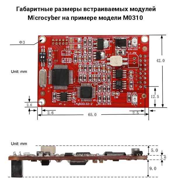 Габаритные размеры интерфейсного модуля M0307