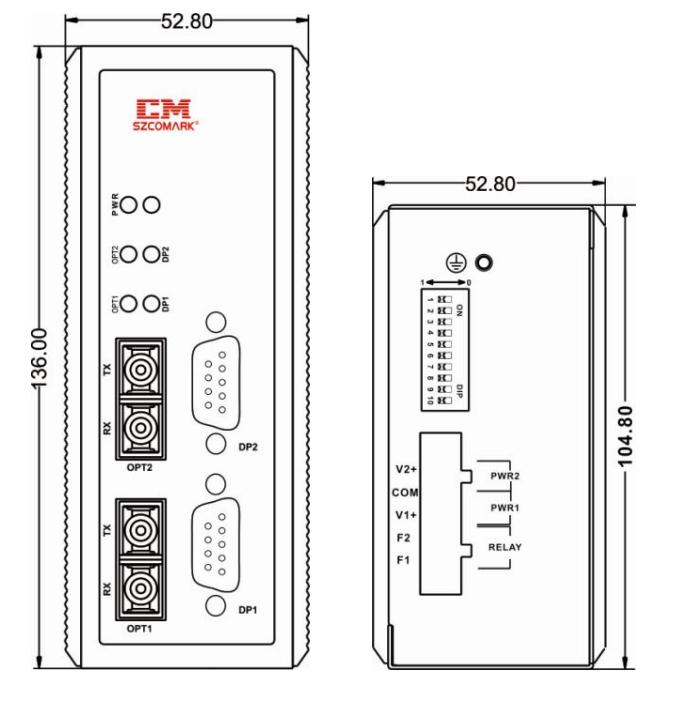 Габаритные размеры повторителей SZComark серии Ci-PFXX