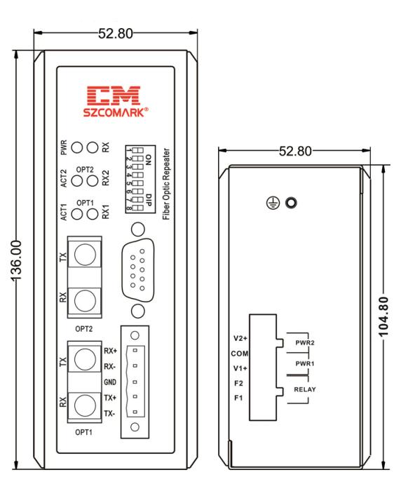 Габаритные размеры повторителей SZComark серии Ci-MF1X0