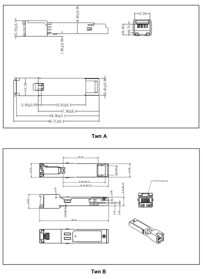 Габаритные размеры SFP модулей SZComark