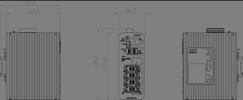 Габаритные размеры управляемых коммутаторов серии AMG570