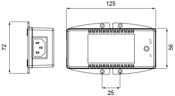 Габаритные размеры Anybus PoE Инжектора 100-240VAC