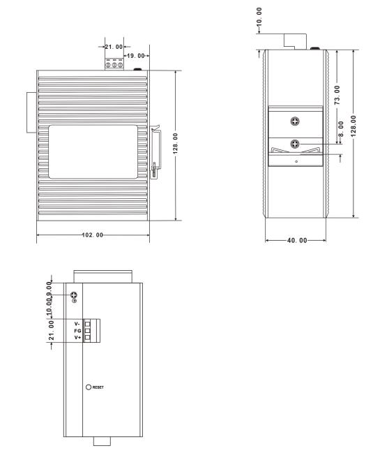 Габаритные размеры сетевых шлюзов SZComark серии MG50x1