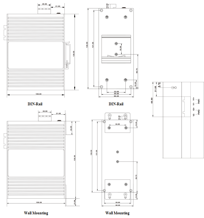 Габаритные размеры сетевых шлюзов SZComark серии MG5x44