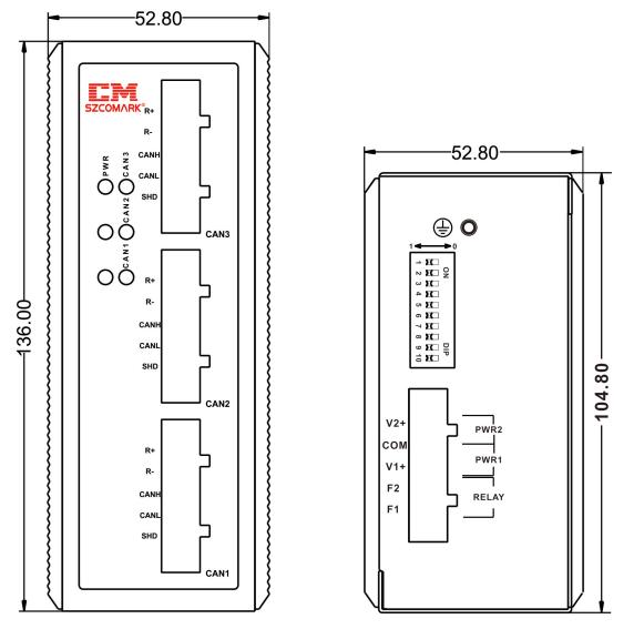 Габаритные размеры модуля резервирования SZComark Ci-DD21
