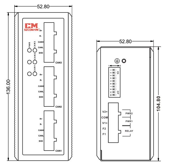 Габаритные размеры сетевых концентраторов SZComark Ci-DD30/Ci-DD30-T