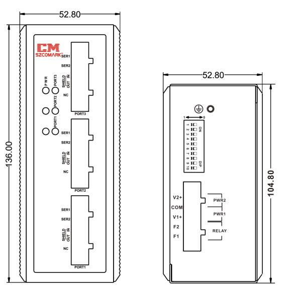 Габаритные размеры сетевых концентраторов SZComark Ci-GG30/Ci-GG30-T