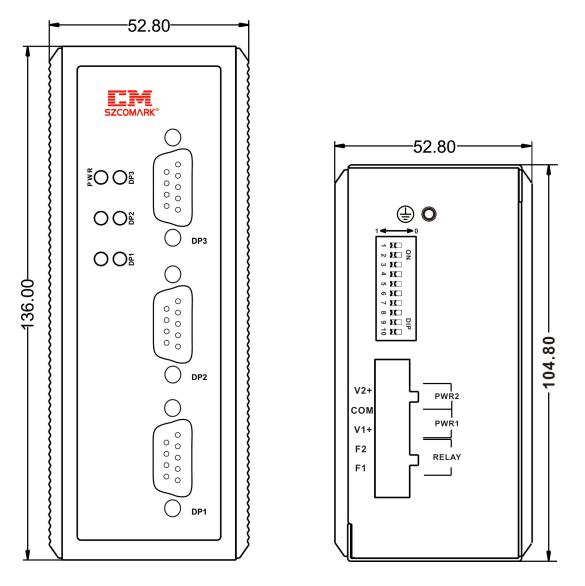 Габаритные размеры сетевых концентраторов SZComark Ci-SS30/Ci-SS30-T
