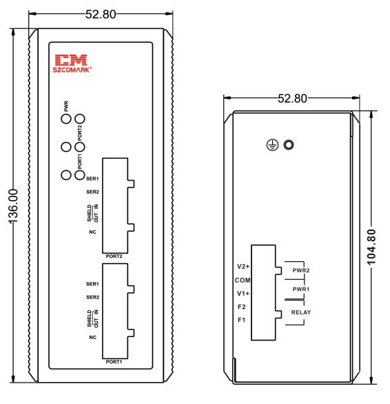 Габаритные размеры модуля гальванической развязки SZComark Ci-HH200