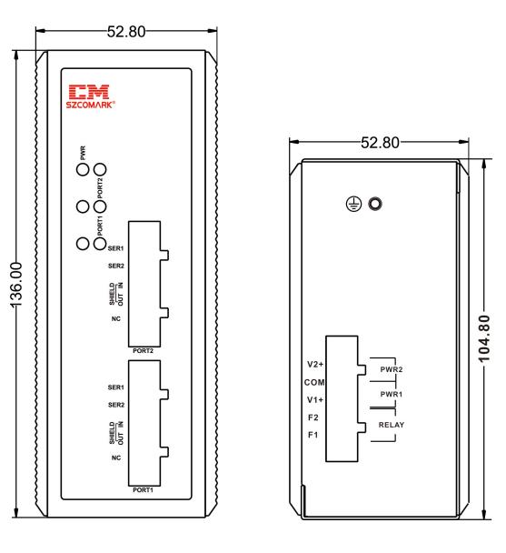 Габаритные размеры модуля гальванической развязки SZComark Ci-GG200