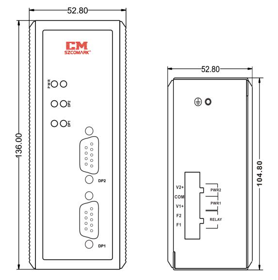Габаритные размеры модуля гальванической развязки SZComark Ci-PP200