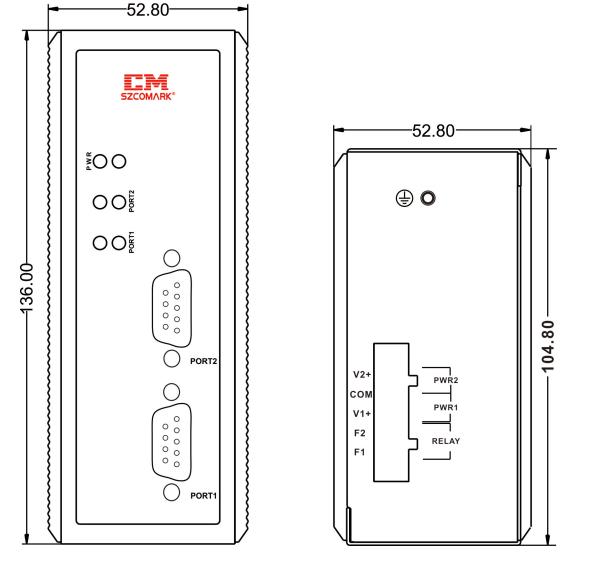 Габаритные размеры модуля гальванической развязки SZComark Ci-SS200