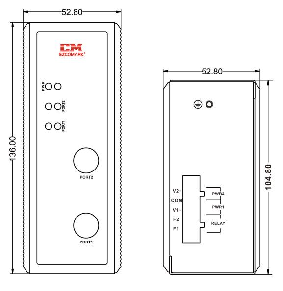 Габаритные размеры модуля гальванической развязки SZComark Ci-CC200