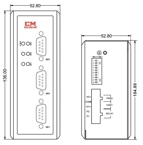 Габаритные размеры модуля резервирования SZComark Ci-SS21